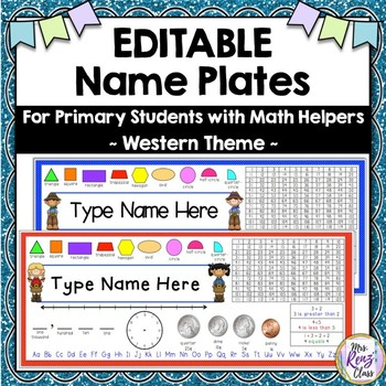 Primary Desk Name Tags  (Western Theme)  Type Names Using PPT