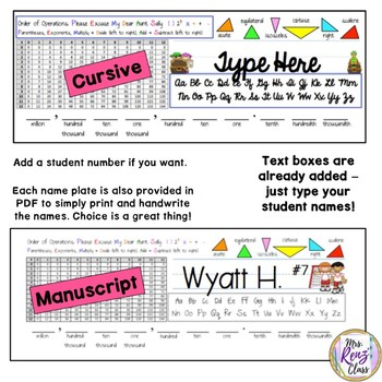 Editable Desk Name Plates in Cursive & Manuscript with Math Helpers