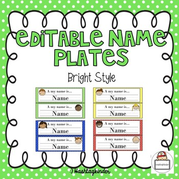 Name Plates - Editable - Bright Style - 4 Colors