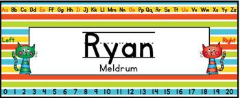Name Plates Editable - Cat Themed