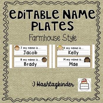 Name Plates - Editable - Farmhouse Style
