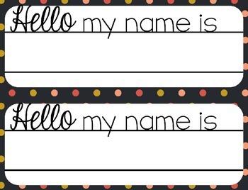 Name Plates Editable {Floral and Polka Dots}
