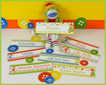 Name Plates – Editable Labels - Coordinates with Sock Monkey Classroom Theme