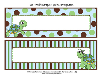 Name Plates – Editable Labels - Coordinates with Turtle Time Classroom Theme