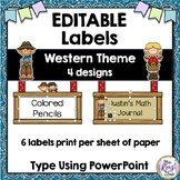 Desk Name Plates in a Western Theme Editable in PowerPoint