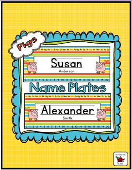 Name Plates Editable - Pig Themed