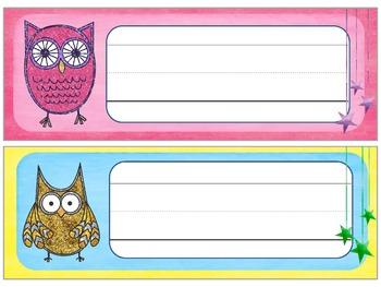 Name Plates : Glitter Owl