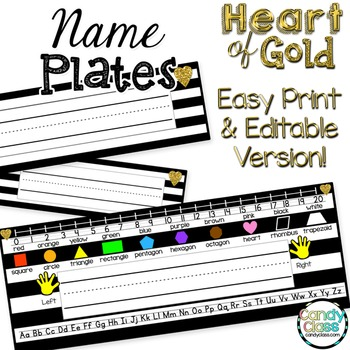 Editable Name Plates - Heart of Gold (Several Options of Name Labels)