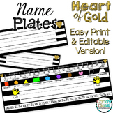 Editable Name Plates: Black and Gold Desk Name Tags with R