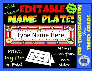 Editable Name Plates - Kids Theme