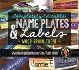 Name Plates Labels Editable in Wood Grain