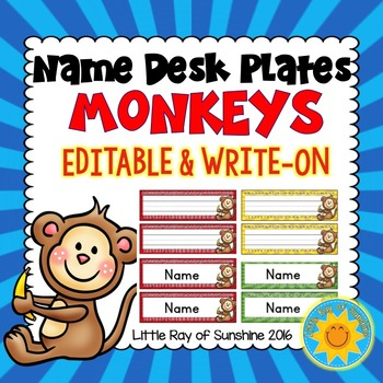 Name Plates Monkeys (EDITABLE & WRITE-ON)