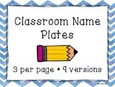 Name Plates, Name Tags, Chevron, Back To School