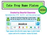 Name Plates / Name Tags - Editable (Cute Frog Theme)