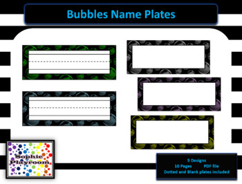 Name Plates / Name Tags - Glow in the Dark Bubbles