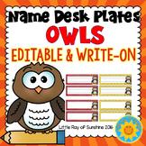 Name Plates-Owls (EDITABLE & WRITE-ON)