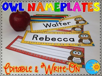 Name Plates-Owls (EDITABLE & WRITE-ON)