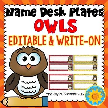 Name Plates-Owls: EDITABLE & WRITE-ON