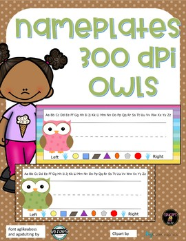 Name Plates Owls -  Pink and Brown - polka dots and rainbow background