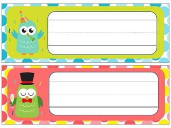 Name Plates : Party On!!! New Years Owls