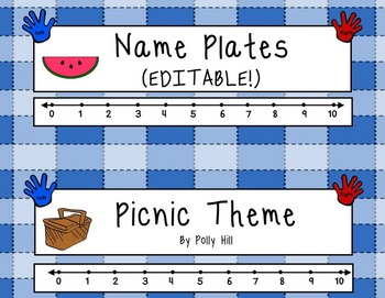 Name Plates:  Picnic Theme in Blue (EDITABLE!)
