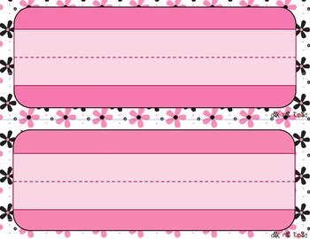 Name Plates - Pink Flowers