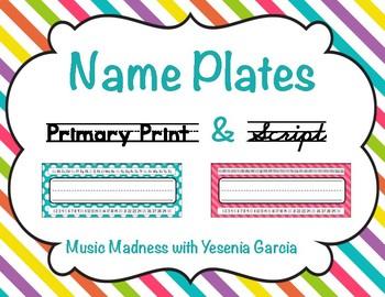 Name Plates - Polka Dot/Chevron/Stripped (42 Designs)