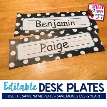 Nameplates Polka Dot EDITABLE