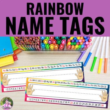 Name Tags/Name Plates in a Rainbow Swirl Theme - EDITABLE