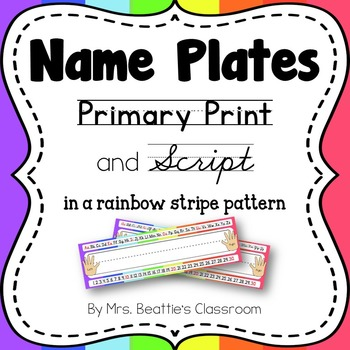 Name Tags/Name Plates in a Rainbow Stripe Theme - EDITABLE