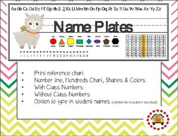 Name Plates - Print with Math Helpers - Alpaca Themed