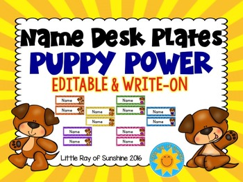 Name Plates - Puppy Power: EDITABLE & WRITE-ON