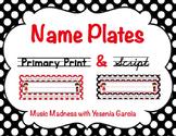 Name Plates - Red & Black Polka Dots