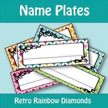 Name Plates - Retro Rainbow Diamonds