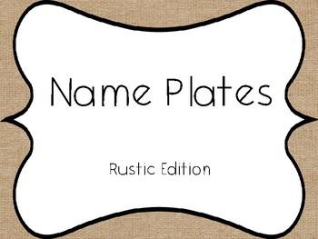 Name Plates Rustic Edition Burlap