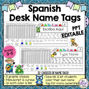 Desk Name Plates in 7 Designs (in Spanish) Editable in PPT with Math Helpers