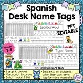 Desk Name Plates in 7 Designs (in Spanish) Editable in PPT