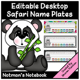 Editable Name Plates - Safari Animals Theme