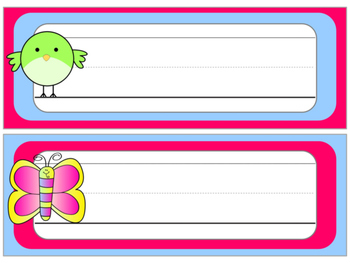 FREEBIE : Name Plates : Simple Birds and Butterflies