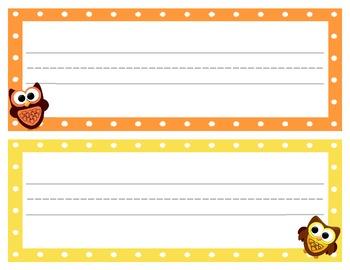 Name Plates / Tags Owl Theme