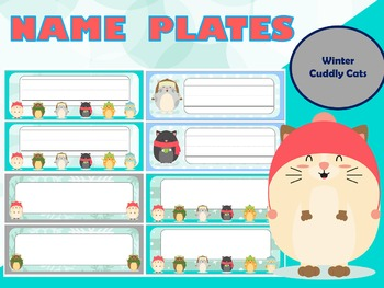 Name Plates : Winter - Cuddly Cats