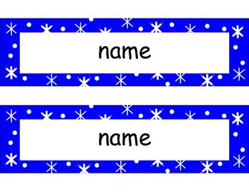 Name Plates - Winter - editable, lined, and unlined