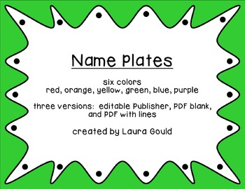 Name Plates - editable, lined, and unlined