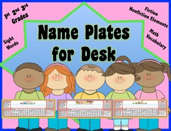 Name Plates for 1st, 2nd or 3rd Grades- Sight Words, Fiction/ Nonfiction Info.