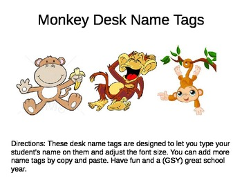 Name Plates for Desk -- Monkey