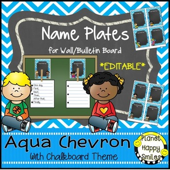 Name Plates for Student Work (EDITABLE) Aqua and Chalkboard Theme
