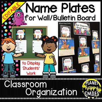 Name Plates for Student Work (EDITABLE) Monster Theme