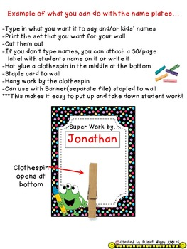 Name Plates for Student Work (EDITABLE) Monster Theme
