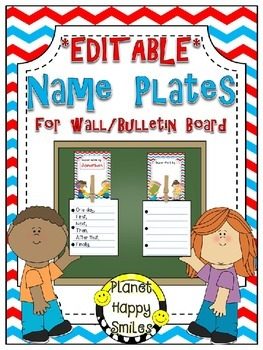 Name Plates for Student Work (EDITABLE) ~ Red, White & Blu