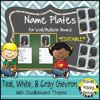 Name Plates for Student Work (EDITABLE) Teal and Chalkboard Theme